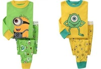Retail Despicable ME Minion kids pajamas set 100% cotton children sleepwear unisex boys girls nightgown,christmas baby pjs 2T-7T