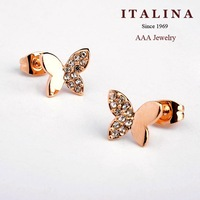 9$ Free Shipping! 86865 AAA Fashion Crystal Butterfly Stud Earrings for Girls Gold Plated ITALINA Jewelry