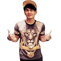 Holdemdenim male women's lion clown poker lovers short-sleeve T-shirt print