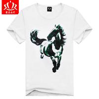 spring 2014 3D rendering cotton round neck short sleeve T-shirt men t-shirt white summer shirt M / S / L / XL / XXL code