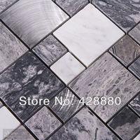 Stone Mosaic Tiles brushed Stainless Steel Backsplash kitchen Metal Wall art Marble Floor Tile Metallic Mosaic Wall Tile 9481