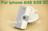 400pcs/Lot DHL Free Shipping Wallet PU Leather Cover Stand with Card Holder Case For iphone 4 4S 5 5S 5C
