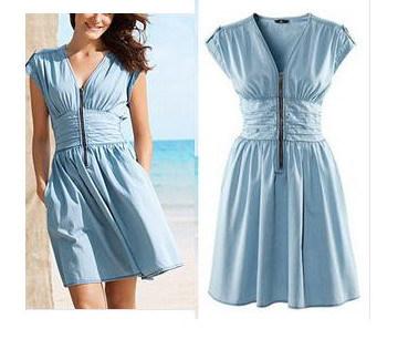 La s Baby Blue High Waist Dresses Summer Causal Dress