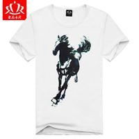 2013 Men's cotton round neck short sleeve T-shirts fashion stereoscopic 3D White Horse Men's t-shirts