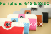 New Arrival Fashion Wallet Pouch With Card Holder Flip Case For iphone 4 4S 5 5S 5C Free Gift Screen Protector +Touch Pen