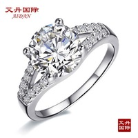 Wholesale 2 ct Excellent Cut wedding anniversary Engagement silver  synthetic stone ring for women white gold 14k plated