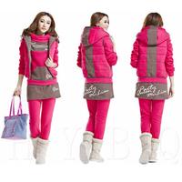 New 2014 Autumn Winter Women Warm Pullovers Hoodies Suit Sports Sweatshirts (Hoody,PantS,Vest) 3pcs Sets