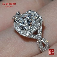 luxury Wedding Ring 1 carat cushion cut sona Synthetic  engagement rings for women,925 sterling silver promise ring