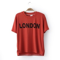 Spring Summer 2014 Cotton Short Sleeve Round Collar London Letter Applique Print T-shirt Tees for Women Red Gray Hot Sale