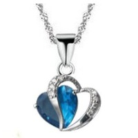 necklaces & pendants Wholesale (50 pcs/lot) Platinum-Plated Neclace Hearttex / Double Hearts Pendant Best Zircon Free Shipping