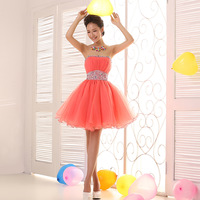 2014 princess tube top bridal short design formal dress bridesmaid dress evening dress short design