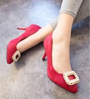 2014 single shoes red high thin heels red wedding shoes the bride wedding shoes cheongsam wedding shoes