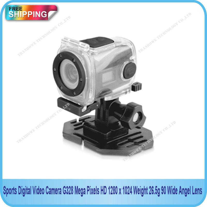 Free Shipping!!Sports Digital Video Camera G328 Mega Pixels HD 1280 x 1024 Weight 26.5g 90 Wide-Angel Lens(China (Mainland))