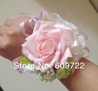 New Prom Handmade Wedding real touch Boutonniere PU Artificial Rose Bride Wrist Corsage Flower Bracelet Pink  FL1353