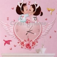 Heart and Wings Pattern Creative DIY Wallpaper Art Wall Clock