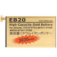 EB20 3030mAh High Capacity Gold Business Battery with Screwdriver for Motorola XT910/ XT912/ MT917/ XT885/ MB886/ MT887 / XT889