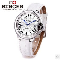 Desinger Binger  brand summer watch woman real leather band white gold watches 8 color Sapphire dial window wristwatches female
