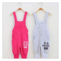 Free Shipping Spring Children's Boys And Girls Pure Cotton Casual sport Salopette Long Overall For Girl Pant Trousers Age 3-10