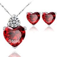Sincere heart pomegranate balas Zircon Pendant in sterling silver jewelry set