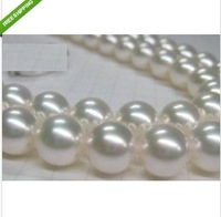 "Beautiful + HUGE 18""ROUND 10-11 MM AKOYA PERFECT WHITE PEARL NECKLACE 14K + Box"