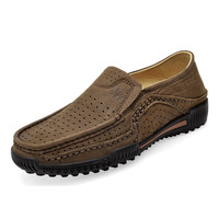 Free shipping,2014, new, shoes, flat, punching, men's, high-end, first layer of leather, casual shoes, sandals