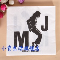 Fashion Napkin Paper with Michael Jackson Printed Table Napkin Party Facial Tissue Printing Serviette ( 10 packs)