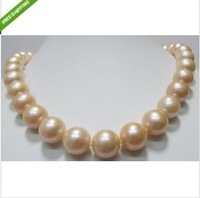 "Genuine AAA+ Round 10-11 MM PINK SOUTH SEA PEARL NECKLACE 18""14K Solid Gold"
