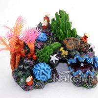 Fish tank aquarium  full set of coral shell rockery resin plants fake tree 15