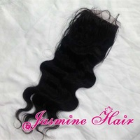 Free part 5A grade virgin brazilian body wave hair silk base closure,unprocessed hair swiss lace top closure,bleached knots 4x4