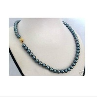 "18"" noblest 8-9mm south sea AAA+ black pearl necklace"