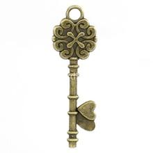 hot-  Charm Pendants Key Antique Bronze Flower & Heart Pattern 3.4x1.1cm,50PCs (K02374)(China (Mainland))