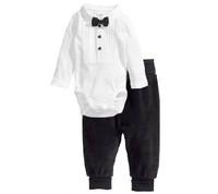 RP0024 Free shipping fashion boy cotton clothing sets baby boy gentleman bow romper+pants 2pcs/suits fashion baby garment retail