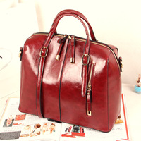 Wax oil leather advanced casual vintage shoulder cross-body bag big bag motorcycle bag handbag 285