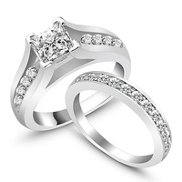 Tendy Wedding Engagament Ring Women Jewelry Rings Weddings & Events Classic AAA Silver Plated Rings Set (Silveren Si0109)