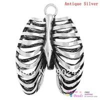 Charm Pendants Anatomical Human Rib Cage Antique Silver 4cm x 3cm,3PCs (B32360)