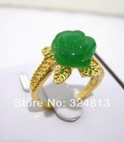 colors Charming 10mm shell pearl flower jade 18KGP ring