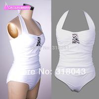 New 2014 swimwear women 1 piece swimsuit sexy brand rhinestone high waist swimsuit monokini beach cover up biquini bikini