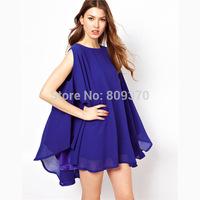 chiffon loose cloak sleeveless one-piece dress women summer new 2014 women's clothing dresses cute