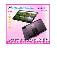 china factory ! 7 inch touch screen monitor with VGA/HDMI/AV1/AV2 ,450cd/m2 high brightness+1080P HDMI