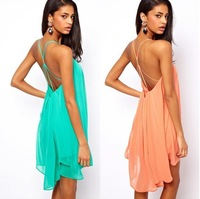 2014 New Summer Women Clothing Sexy Spaghetti Strap Dresses Halter Backless Chiffon Beach Dress Vestidos