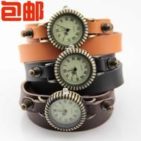 Classic vintage long design multi-layer bracelet fashion personality cowhide bracelet watch
