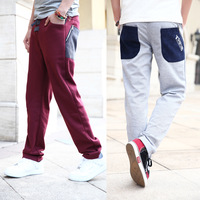 """New 2014 Spring Plus Size M-Xxxl Fashion Contrast Color Men Casual Sports Pants Slim  Sweatpants For Men Free Shipping B2315"