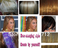2014 NEW HAIR FLAIR 300 Stand/lot 9Colors 25'' Bling Rainbow Silk Hair Tinsel Extention(HT01)