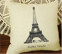 2 pcs/lot Free shipping high quality linen beige sofa cushion cover/throw pillow cover for lovers  43*41cm
