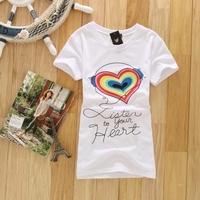 Loose cotton round neck short-sleeve T-shirt women short-sleeve shirt female 2014 summer knitted white cheaper wholesale