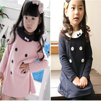 Korean Children clothing 2014 new Spring Autumn 5pcs/lot girls double-breasted dress children princess bow dress