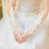 Free Shipping! Wholesale Luxury Lace Decoration Bridal Gloves Wedding Dress Formal Accessories AST042