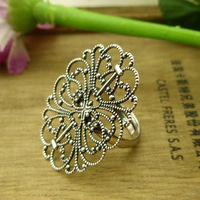 Small accessories elegant vintage chinese style exquisite silver cutout decorative pattern ring finger ring