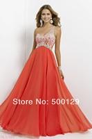 New Luxury Vestidos De Fiesta One Shoulder Beaded Chiffon A-Line Off The Shoulder Evening Gowns Long Prom Dresses Custom 2014