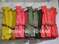 girls jumpsuit summer girls thin section pants flying wood ear piece crimp sleeve shorts with belt 5pcs/1lot